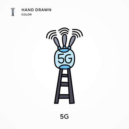5g Hand drawn color icon. Modern vector illustration concepts. Easy to edit and customize.