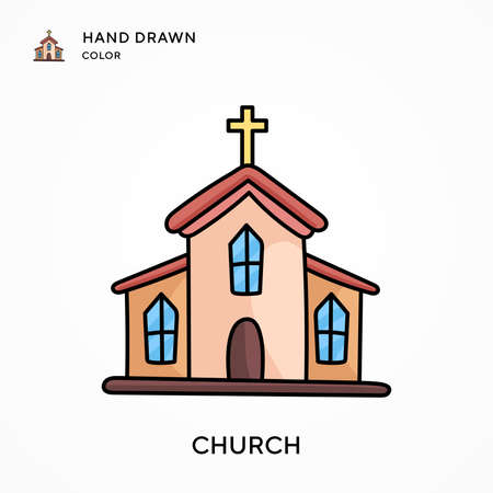 Church Hand drawn color icon. Modern vector illustration concepts. Easy to edit and customize.