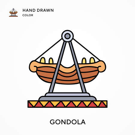 Gondola Hand drawn color icon. Modern vector illustration concepts. Easy to edit and customize.