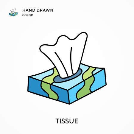 Tissue Hand drawn color icon. Modern vector illustration concepts. Easy to edit and customize. Vettoriali