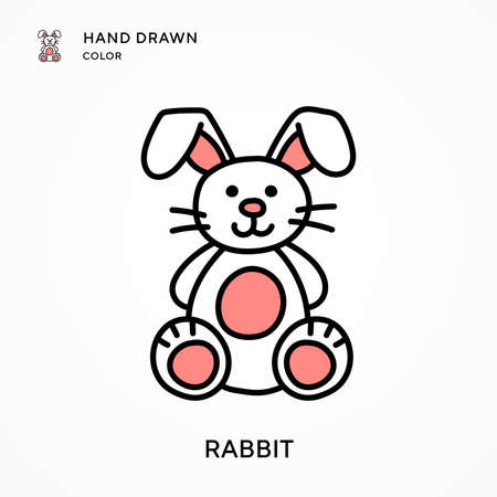 Rabbit Hand drawn color icon. Modern vector illustration concepts. Easy to edit and customize.