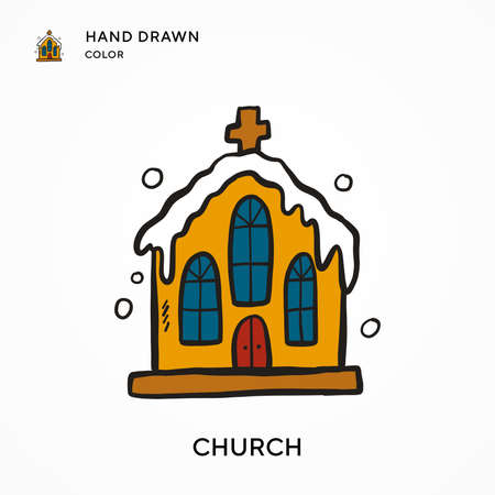 Church Hand drawn color icon. Modern vector illustration concepts. Easy to edit and customize