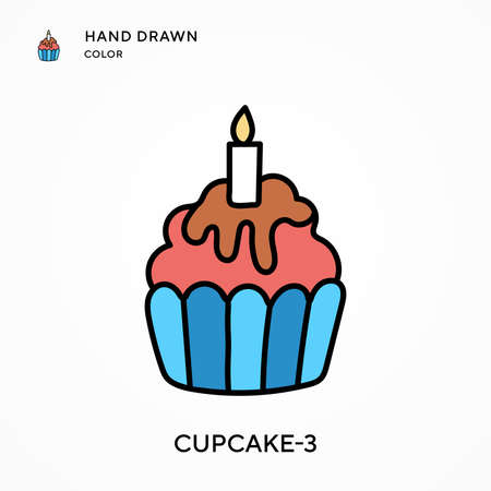 Cupcake-3 Hand drawn color icon. Modern vector illustration concepts. Easy to edit and customize
