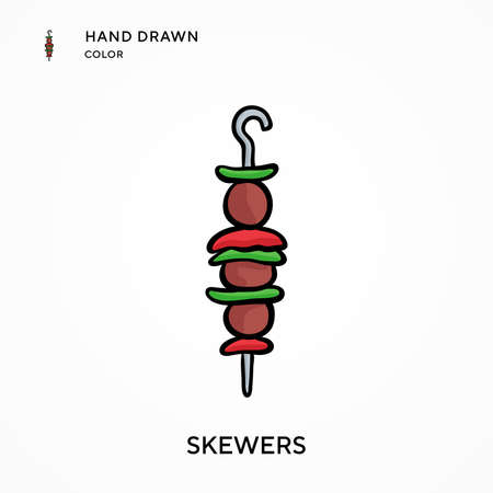 Skewers Hand drawn color icon. Modern vector illustration concepts. Easy to edit and customize