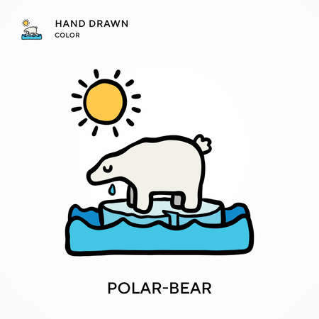 Polar-bear Hand drawn color icon. Modern vector illustration concepts. Easy to edit and customize