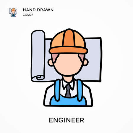 Engineer Hand drawn color icon. Modern vector illustration concepts. Easy to edit and customize