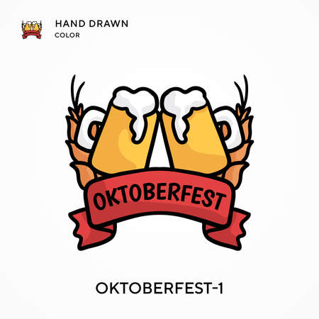 Oktoberfest-1 Hand drawn color icon. Modern vector illustration concepts. Easy to edit and customize