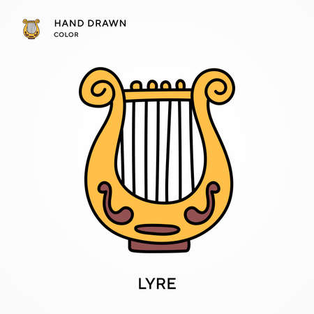 Lyre Hand drawn color icon. Modern vector illustration concepts. Easy to edit and customize