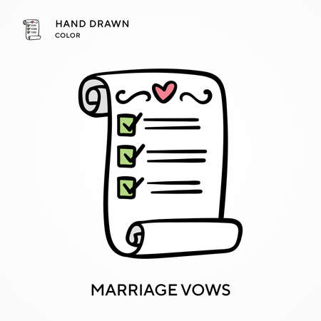 Marriage vows Hand drawn color icon. Modern vector illustration concepts. Easy to edit and customize Illustration
