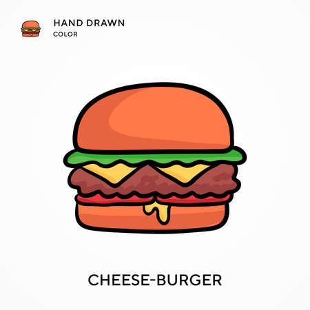 Cheese-burger Hand drawn color icon. Modern vector illustration concepts. Easy to edit and customize