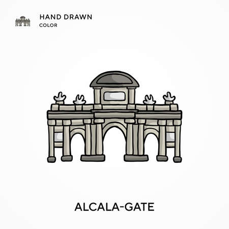 Alcala-gate Hand drawn color icon. Modern vector illustration concepts. Easy to edit and customize
