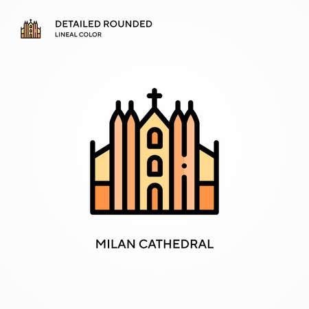 Milan cathedral vector icon. Modern vector illustration concepts. Easy to edit and customize.