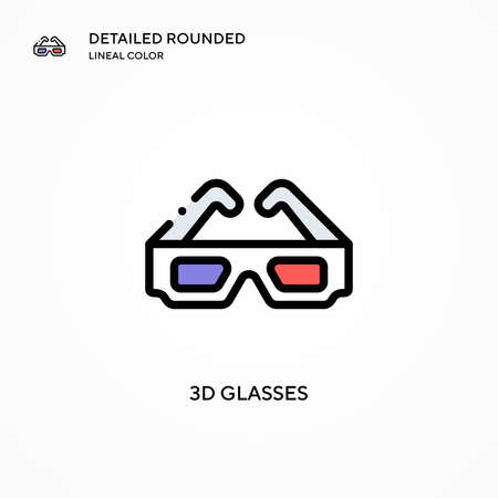 3d glasses vector icon. Modern vector illustration concepts. Easy to edit and customize.