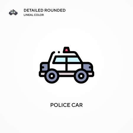 Police car vector icon. Modern vector illustration concepts. Easy to edit and customize.