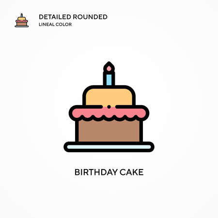 Birthday cake vector icon. Modern vector illustration concepts. Easy to edit and customize.