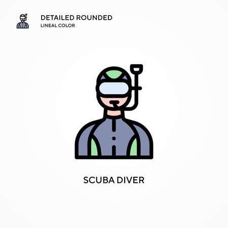 Scuba diver vector icon. Modern vector illustration concepts. Easy to edit and customize. Vectores