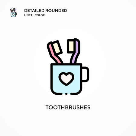 Toothbrushes vector icon. Modern vector illustration concepts. Easy to edit and customize.