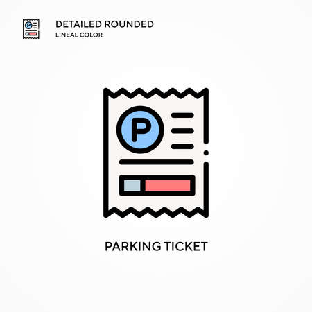 Parking ticket vector icon. Modern vector illustration concepts. Easy to edit and customize. Vettoriali