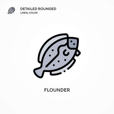 Flounder vector icon. Modern vector illustration concepts. Easy to edit and customize. 向量圖像