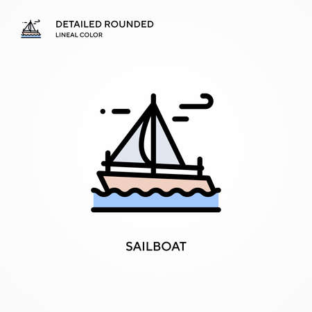 Sailboat vector icon. Modern vector illustration concepts. Easy to edit and customize.