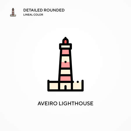 Aveiro Lighthouse vector icon. Modern vector illustration concepts. Easy to edit and customize.