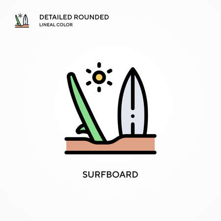Surfboard vector icon. Modern vector illustration concepts. Easy to edit and customize.