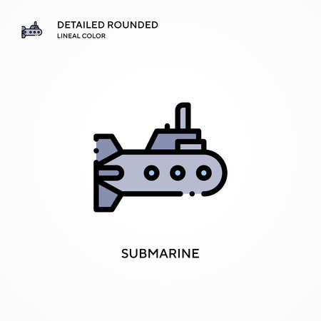 Submarine vector icon. Modern vector illustration concepts. Easy to edit and customize. Иллюстрация
