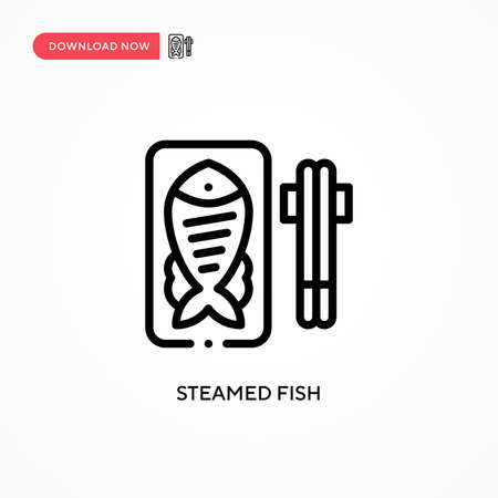 Steamed fish vector icon. Modern, simple flat vector illustration for web site or mobile app