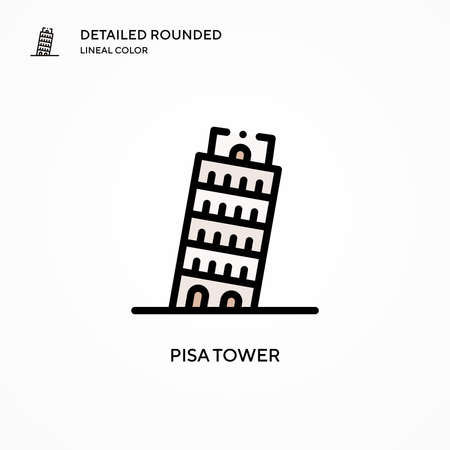 Pisa tower vector icon. Modern vector illustration concepts. Easy to edit and customize.