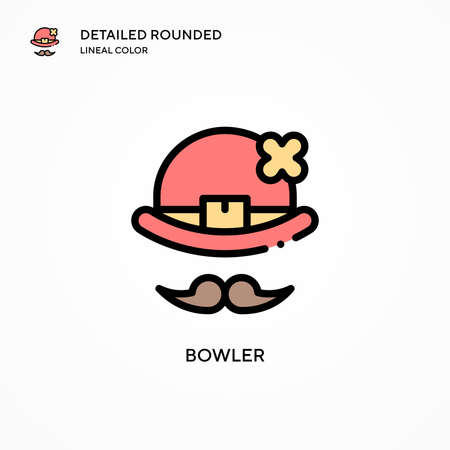 Bowler vector icon. Modern vector illustration concepts. Easy to edit and customize. Иллюстрация