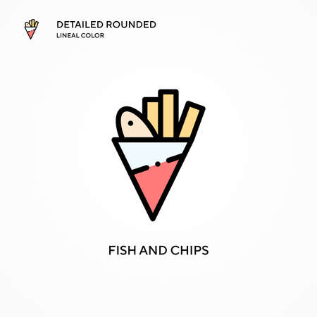 Fish and chips vector icon. Modern vector illustration concepts. Easy to edit and customize.