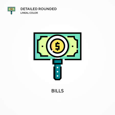 Bills vector icon. Modern vector illustration concepts. Easy to edit and customize. Иллюстрация