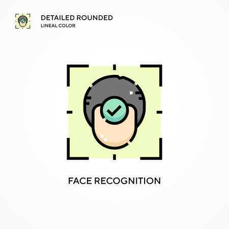 Face recognition vector icon. Modern vector illustration concepts. Easy to edit and customize. Ilustração