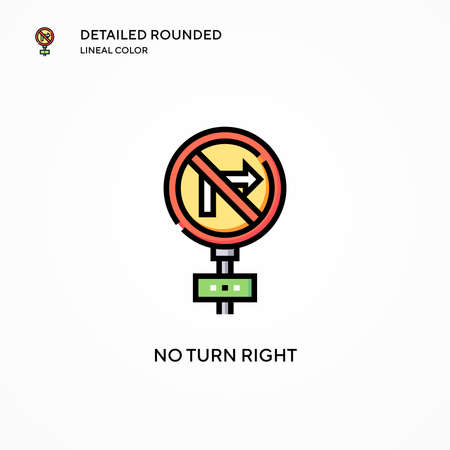 No turn right vector icon. Modern vector illustration concepts. Easy to edit and customize.