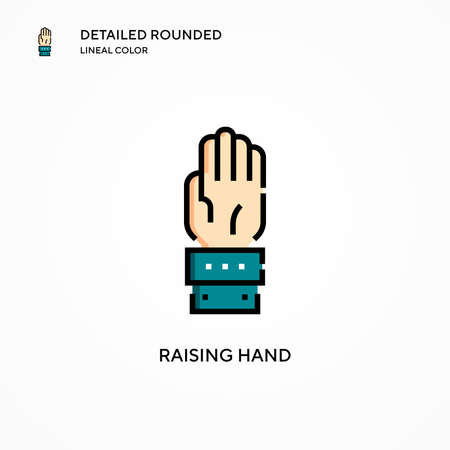 Raising hand vector icon. Modern vector illustration concepts. Easy to edit and customize. Ilustração