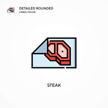Steak vector icon. Modern vector illustration concepts. Easy to edit and customize.