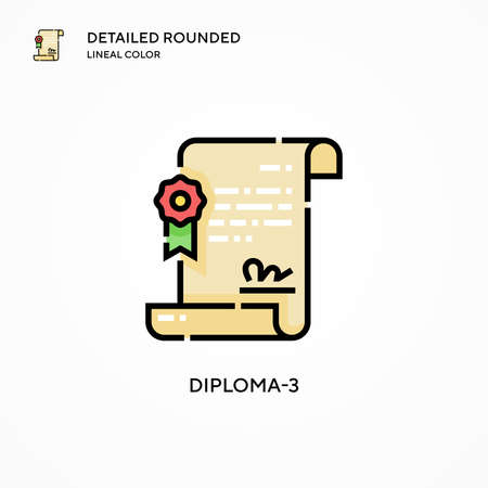 Diploma-3 vector icon. Modern vector illustration concepts. Easy to edit and customize.