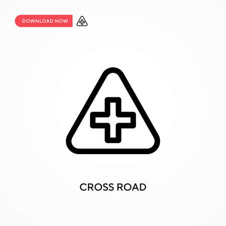 Cross road Simple vector icon. Modern, simple flat vector illustration for web site or mobile app