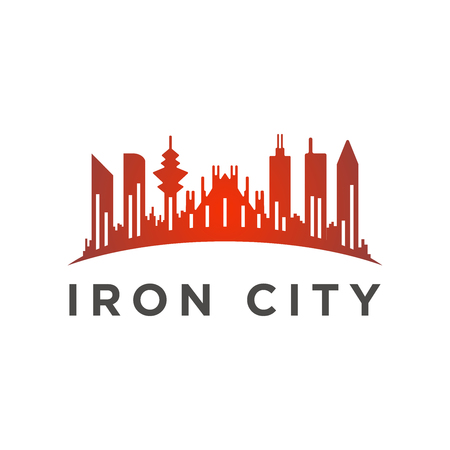 City with a tall tower logo template 向量圖像