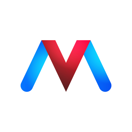 the logos letters V and M in blue and red. Logó