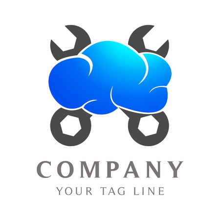 cloud logo with garage equipment. Illustration