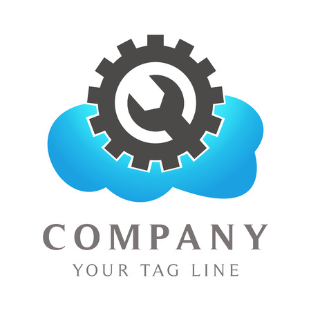 cloud logo with circle gear on it and garage equipment.