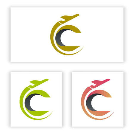 the logo letter C template has a plane shape for your company and business.