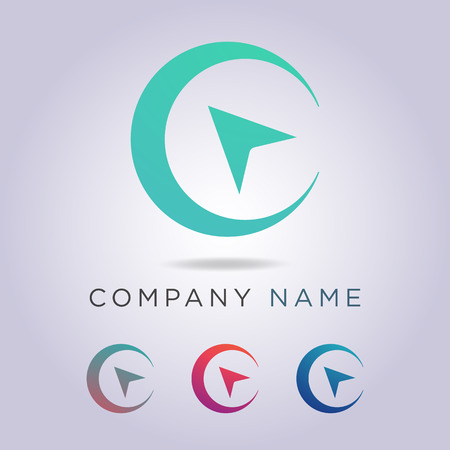 logo template circle shape and arrow for your business and company.