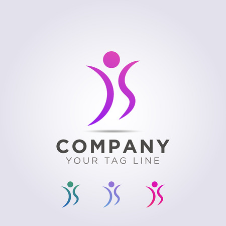 logo template forms people are dancing to your business and company. Ilustração