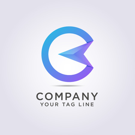circle logo template in the shape of letter C and arrows to the left for your company and business. 일러스트