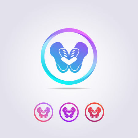 the pelvic bone logo template with a shape resembling a colorful butterfly. Logo