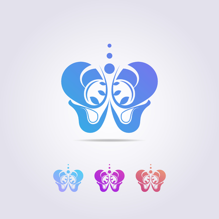 the pelvic bone logo template with a shape resembling a colorful butterfly. Illustration