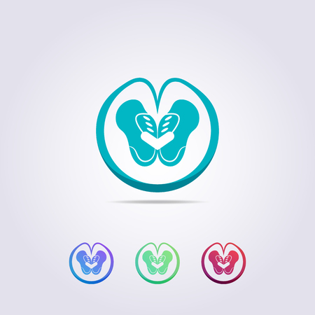 Green pelvis logo template with abstract love circles for your business and brand.