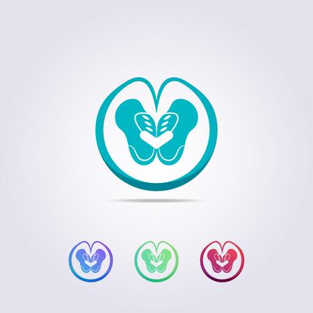 Szablon logo zielonej miednicy z abstrakcyjnymi kręgami miłości dla Twojej firmy i marki.